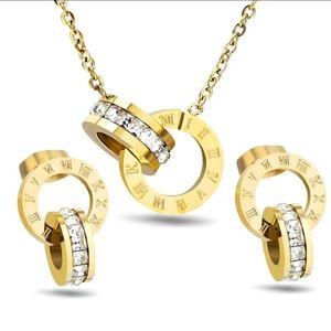 Gold Roman Numeral Jewelry Set